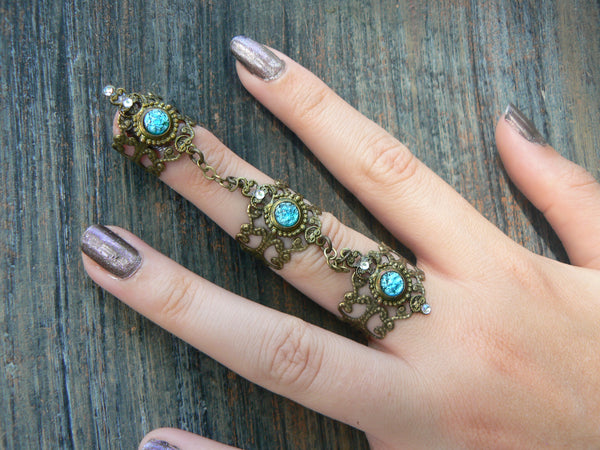 blue claw ring,aqua Steampunk ring,armor ring,triple ring