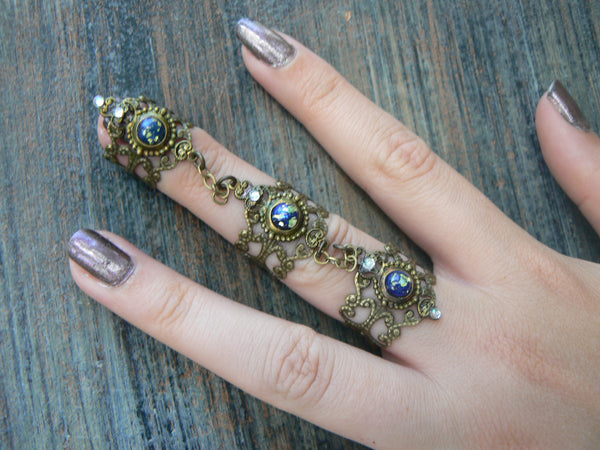 Goth claw ring,black Steampunk ring,armor ring,triple ring