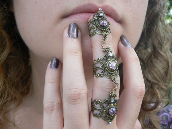 purple claw ring,triple ring,Steampunk,purple fire opal,armor ring,amethyst
