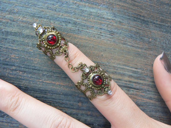 red armor ring,garnet double ring,Halloween, Cosplay ring