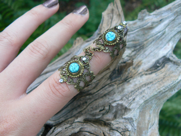 blue armor ring,blue fire opal,double ring,Cosplay ring,Gothic ring
