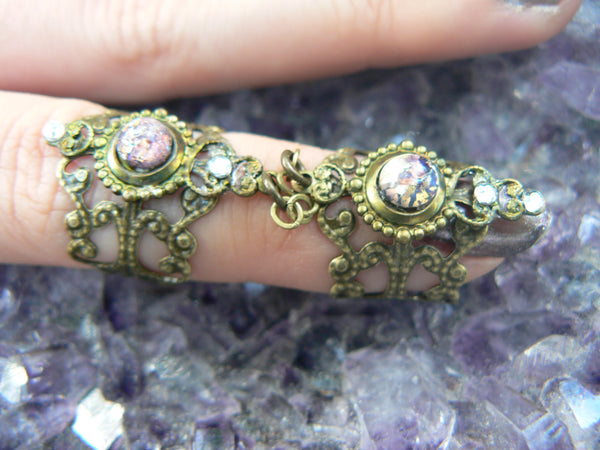 amethyst armor ring,purple blue fire opal,purple midi ring,double ring