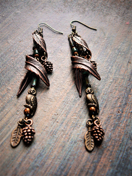 Feather Owl Woodland Earrings Elven Festival