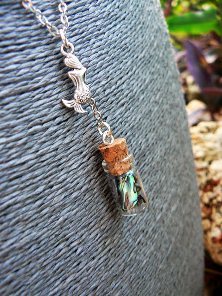 Mermaid Tears Necklace, Mermaid Tears In A Bottle Necklace, Abalone Necklace