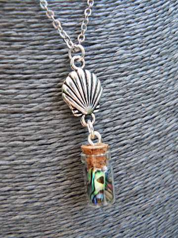 Beach Mermaid Necklace, Mermaid Tears In A Bottle Necklace