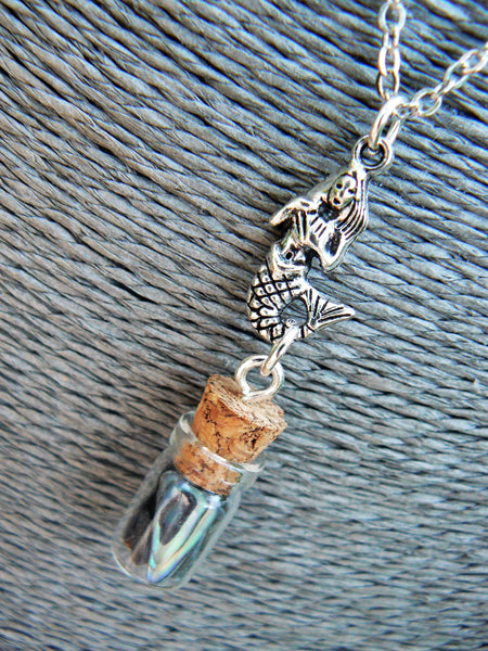 Abalone Mermaid Necklace, Mermaid Tears In A Bottle Necklace, Beach