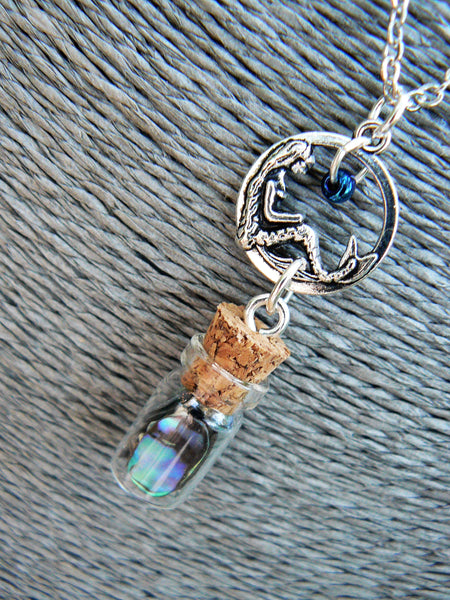 Mermaid Necklace, Mermaid Tears In A Bottle Necklace