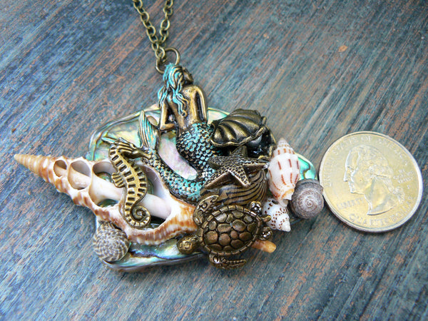 Mermaid Abalone Necklace, Mermaid Statement Necklace,Paua Necklace