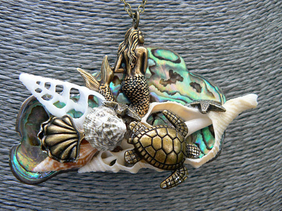 Mermaid abalone necklace mermaid jewelry statement necklace abalone mermaid pendant sea turtle necklace siren resort cruise wear beach  boho