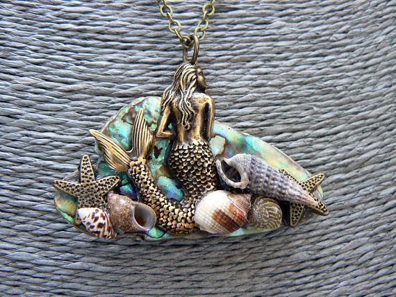 mermaid necklace mermaid jewelry abalone necklace under the sea abalone mermaid necklace fantasy cosplay resort wear
