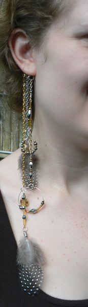 ear cuff wrap spirals feathers mixed metal in tribal fusion