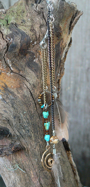 ear cuff wrap turquoise jasper feather spiral  in tribal fusion