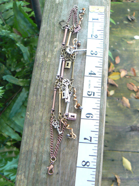 steampunk charm bracelet keys and locks