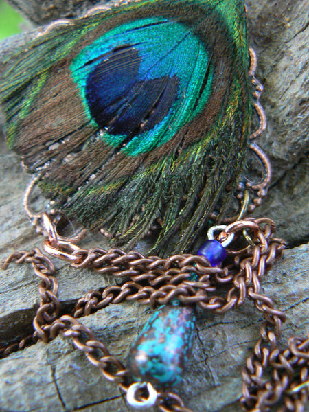 gypsy slave bracelet peacock feather hand chain in tribal fusion style