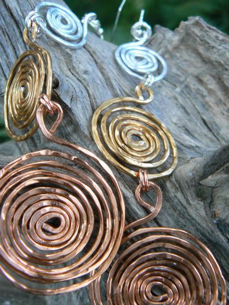 hoop earrings tribal spiral earrings statement earrings hammered copper mixed metals tribal  gypsy boho hippie and belly dancer style