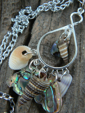 abalone seashell  chandelier necklace