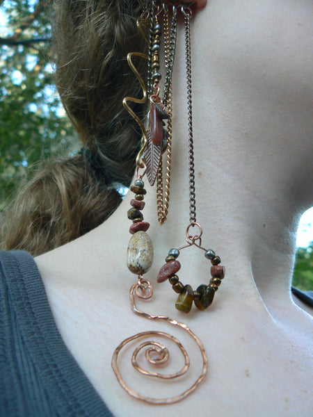 no pierce ear cuff wrap tigers eye goldstone jasper in tribal gypsy boho hippie and belly dancer style