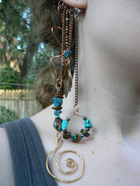 ear cuff wrap  turquoise tigers eye jasper mixed metals chains Tribal fusion