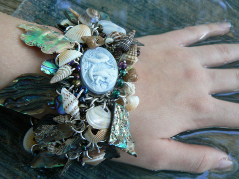 Abalone Mermaid Cameo Statement bracelet