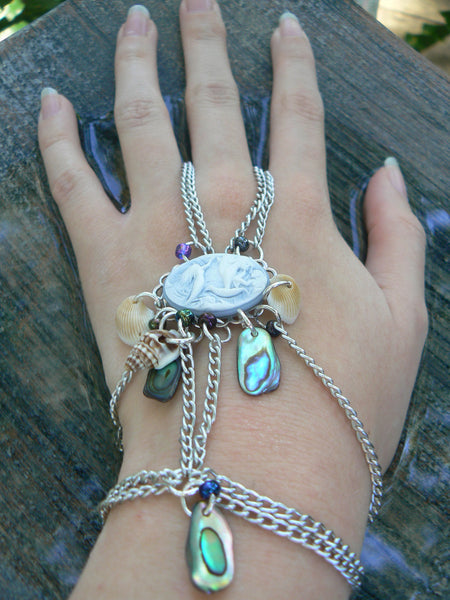 mermaid abalone slave bracelet with mermaid cameo cosplay fantasy style
