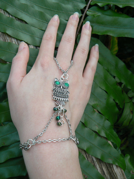 fall owl slave bracelet green eyed  whimsical
