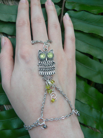 owl slave bracelet  with yellow lime eyes