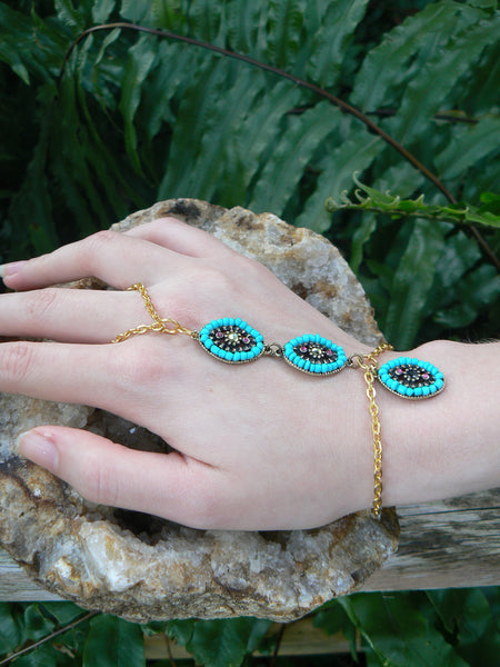 turquoise and gold slave bracelet bohemian tribal fusion styles