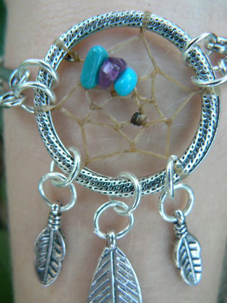 dreamcatcher bracelet silver tone  with turquoise and  amethyst