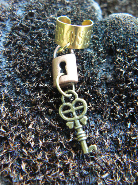 steampunk  ear cuff lock and key  cross cuff mixed metals key lock charms in gypsy boho hippie gothic and fantasy style