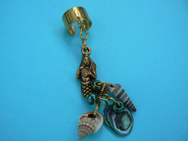 brass mermaid abalone ear cuff