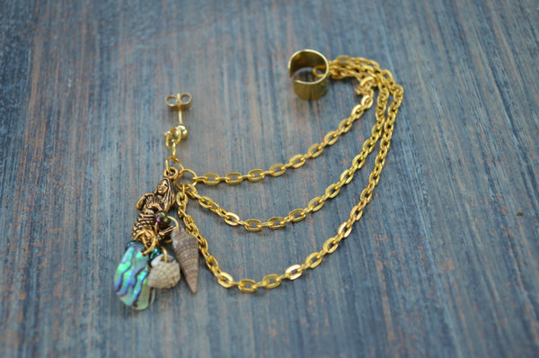 ONE brass mermaid abalone  ear cuff with chains mermaid abalone shells in boho gypsy hippie hipster  beach  resort and fantasy style