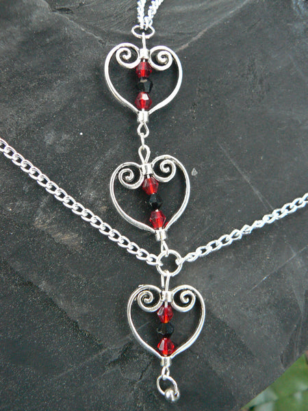 triple heart hand chain valentines bohemian and  victorian styles