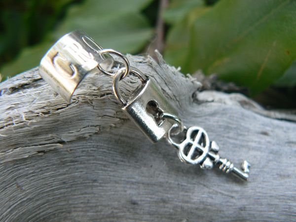 steampunk  ear cuff lock and key  silver cuff lock and key charms in gypsy boho hippie gothic and fantasy style
