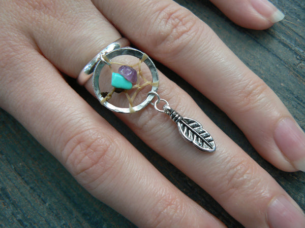 dreamcatcher ring  amethyst and turquoise boho gypsy hippie hipster and tribal style