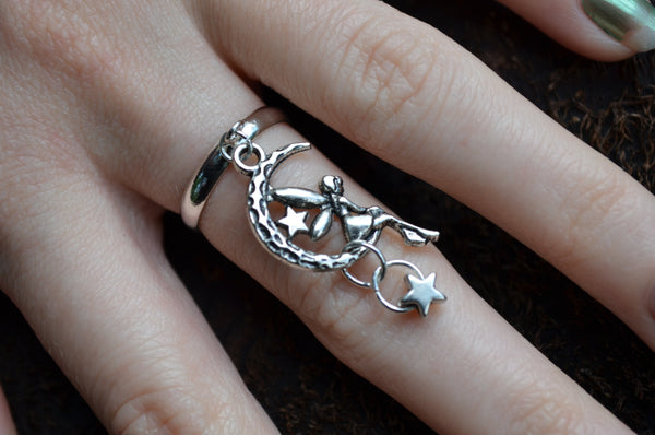 fairy on moon ring star charm in fantasy hipster boho gypsy hippie style