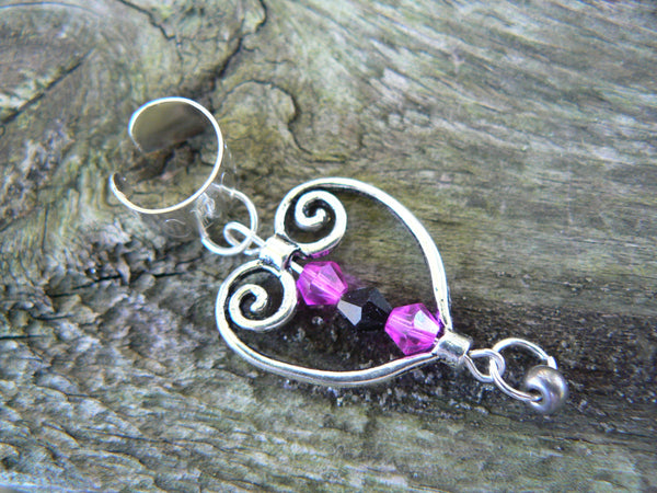 scrolled heart ear cuff antique silver black and hot pink crystal beads steampunk boho hippie goth gypsy and hipster style
