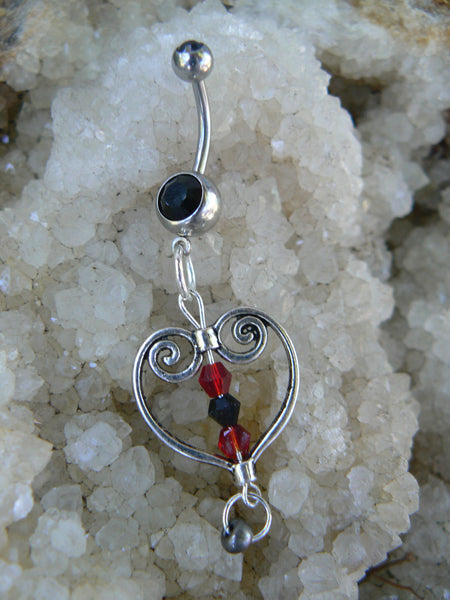 goth heart belly ring  antique silver heart red and black crystals in gothic boho gypsy hippie and hipster style
