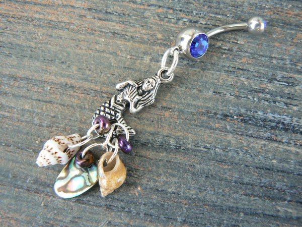 mermaid belly ring abalone seashell belly ring