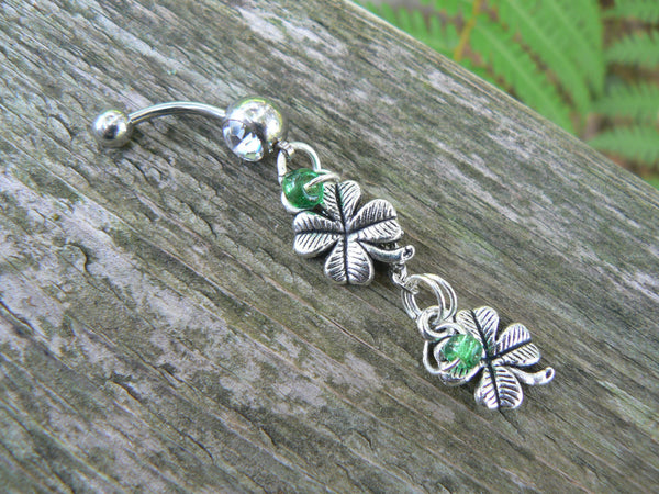 lucky 4 leaf clover belly ring 4 leaf clovers shamrock Irish green beads silver in fantasy boho gypsy hippie  and hipster style