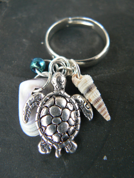 sea turtle charm ring seashell ring sea turtle charm seashell  in beach hipster boho gypsy hippie and fantasy style
