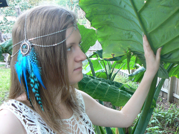 bohemian feather head chainTurquoise dreamcatcher headdress Pow Wow  Festival
