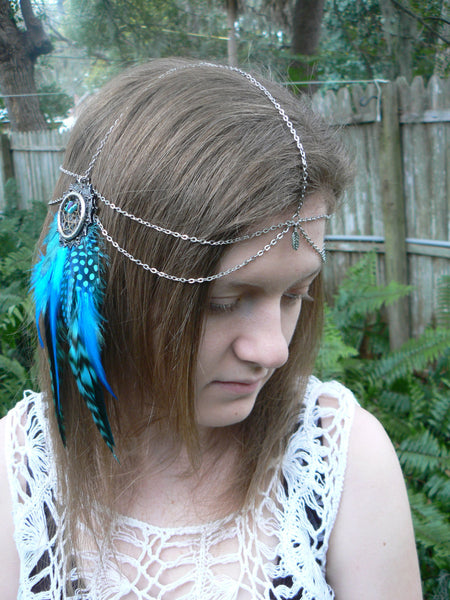 turquoise feather  feather head chain dreamcatcher hippie  headdress