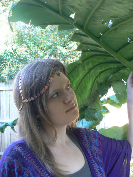 copper belly dancer head chain  tribal fusion headdress