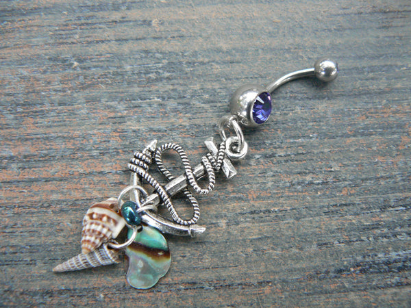 Nautical anchor belly ring with seashells and abalone