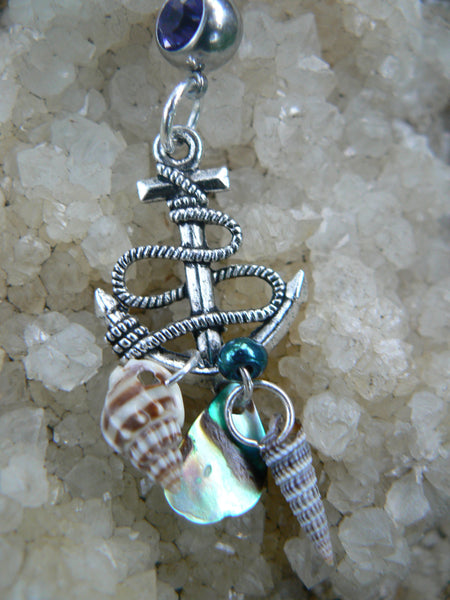 nautical belly ring anchor belly ring abalone seashells purple blue in beach boho gypsy hippie belly dancer  beach hipster and fantasy style