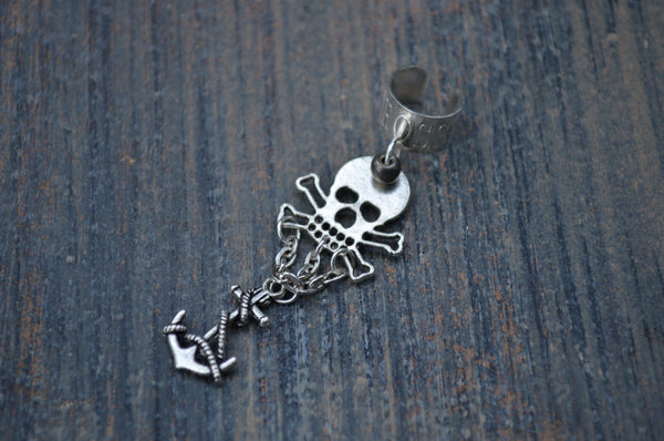 pirate skull and crossbone ear cuff  Gasparilla skull and anchor cuff in goth fantasy mermaid gypsy hippie hipster and beach style