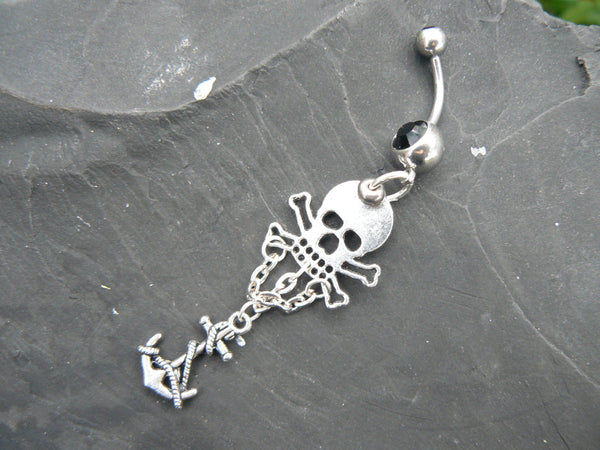pirate skull belly ring skull and cross bones anchor charms Gasparilla in fantasy boho gypsy hippie goth  beach and hipster style