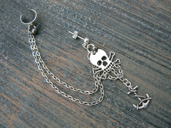 pirate skull and crossbones ear cuff  Gasparilla skull and anchor cuff in goth fantasy mermaid gypsy hippie hipster and beach style