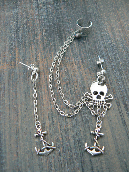 pirate skull and crossbones ear cuff set anchor cross cuff in goth fantasy mermaids Gasparilla hipster pirate mermaid  style