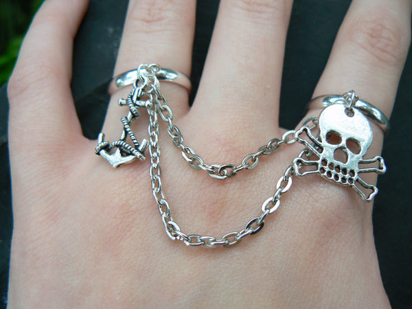 pirate skull chained double ring Gasparilla skull anchor double slave ring in fantasy hipster boho gypsy hippie and pirate  style